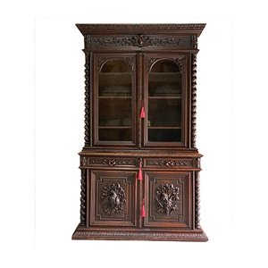 Napoleon III French Solid Oak Bookcase, 1850s