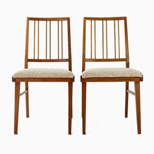 Chaises de Salle à Manger en Merisier et Laine, 1960s, Set de 2