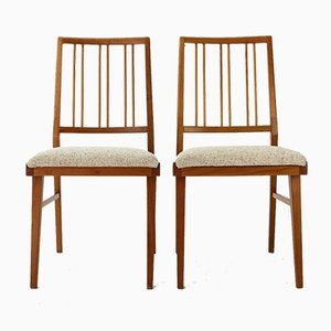 Cherry & Wool Dining Chairs, 1960s, Set of 2