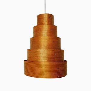 Lámpara colgante de madera de Hans Agne Jakobsson para AB Markaryd, años 60