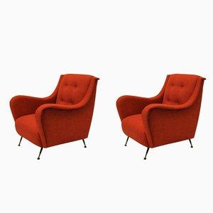 Mid-Century Burnt Orange Armchairs, 1950s, Set of 2