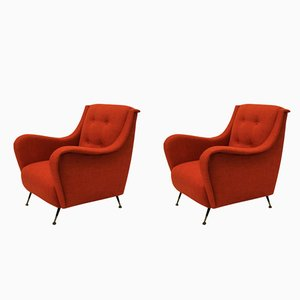 Mid-Century Sessel in gebrannter Orangenfarbe, 1950er, 2er Set