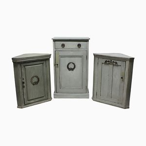 Antique Swedish Painted Cupboards, 1900s, Set of 3