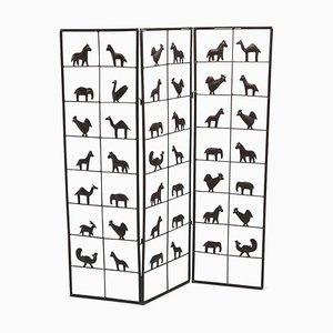 Biombo con motivos de animales de Atelier Marolles, años 50