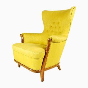 Butaca Mid-Century de nogal y lana amarilla, años 50