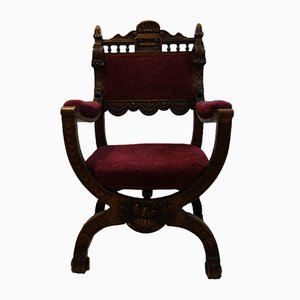 Chaise de Chapelle Gothique Victorienne Antique