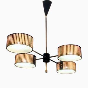 Lámpara de araña de metal perforado, años 50