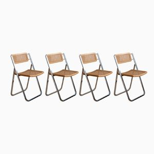 Cane & Chrome Folding Chairs from Arrben, 1970s, Set of 4