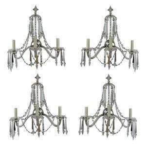 Große englische Wandlampen aus geschliffenem Glas, 1870er, 4er Set