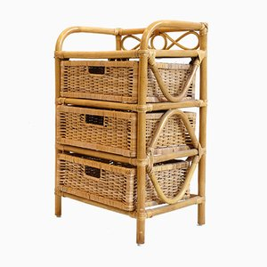Rattan & Wicker 3-Drawer Nightstand, 1970s
