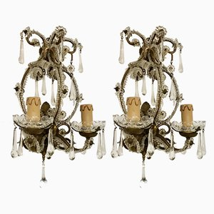 Crystal Beaded Sconces, 1930s, Set of 2