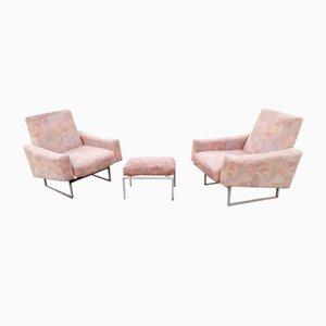 Französische Sessel & Fußhocker, 1950er, 3er Set