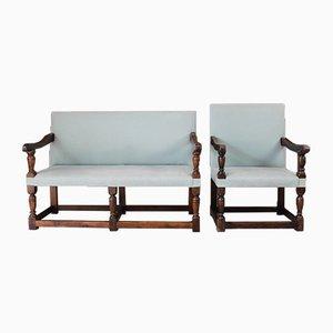 Antike Sitzbank & Stuhl aus Eiche, 2er Set