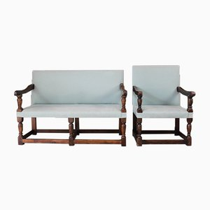 Antique Oak Bench & Chair, Set of 2