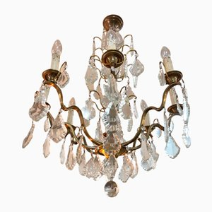 Antique Bohemian Crystal & Brass 8 Light Chandelier