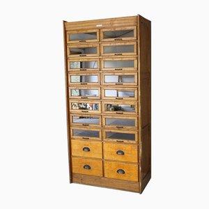 Large Antique Freestanding Oak Haberdashery Filing Cabinet