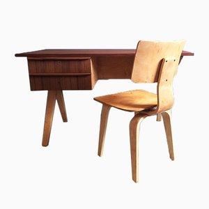 Juego de escritorio y silla EB02 de Cees Braakman para Pastoe, años 50. Juego de 2