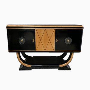 Art Deco Black & Maple Sideboard, 1930s