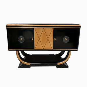 Schwarzes Art Deco Sideboard aus Ahornholz, 1930er