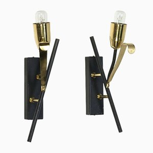 Black & Brass Wall Lights, 1950s, Set of 2