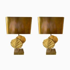 Lampade Guadeloupe in bronzo di Maison Charles, Francia, anni '70, set di 2