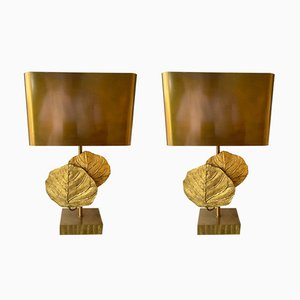Lámparas francesas modelo Guadeloupe de bronce de Maison Charles, años 70. Juego de 2