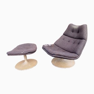 Vintage Model F510 Lounge Chair & Ottoman by Geoffrey Harcourt for Artifort, Set of 2