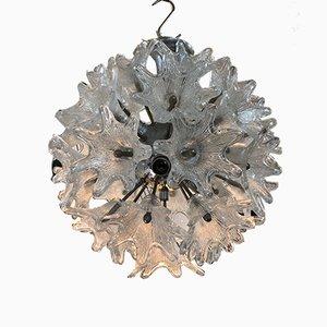 Lampada sferica vintage in vetro e ferro