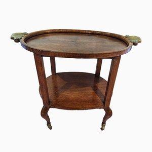 Mesa de servicio Art Déco de madera nudosa de nogal, principios de siglo XX