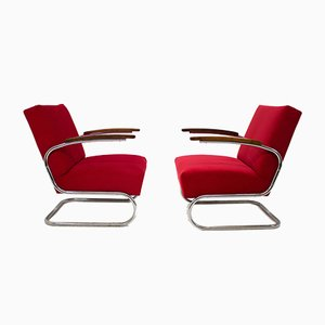 S411 Sessel mit verchromtem Röhrengestell von Mücke Melder, 1930er, 2er Set
