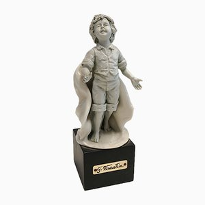 Vintage Porcelain Figurine Depicting a Boy by Gianni Visentin