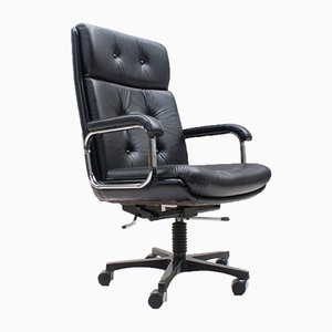 Italian High-back Leather Office Chair, 1985