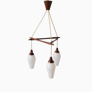 Lámpara colgante danesa de teca, años 60