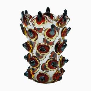 Vaso vintage in vetro di Murano lavorato a mano, anni '60
