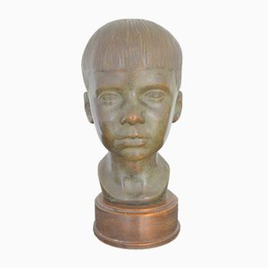 Vintage Bronze Bust of a Boy by P. Mersmann, 1930s