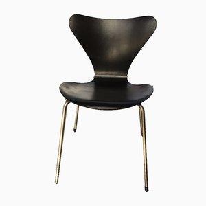 Model 7 Black Dining Chair by Arne Jacobsen for Fritz Hansen, 1950s