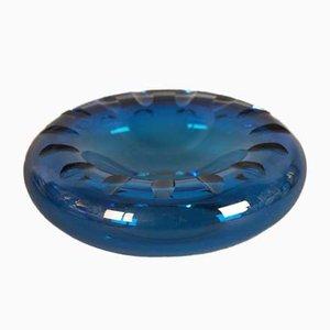 Blaue skandinavische Mid-Century Glasschale