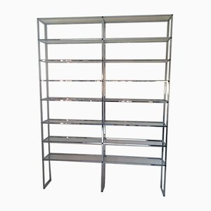 Large Vintage French Iron & Glass Modular Wall Unit, 1970s