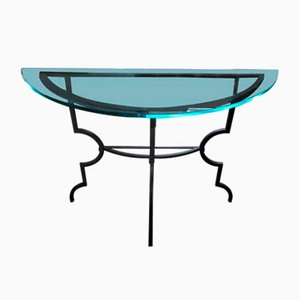 Italian Wrought Iron & Glass Demi-Lune Console Table from Artelano, 1970s