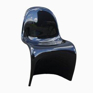 Chaise Empilable Noire par Verner Panton pour Herman Miller, 1970