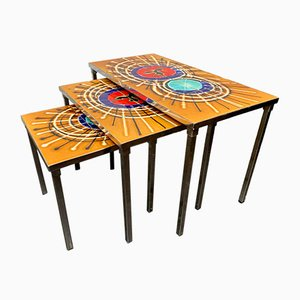 Vintage Tiled Nesting Tables by Juliette Belarti, Set of 3
