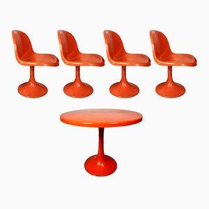 Juego de mesa y cuatro sillas de jardín Tulip, años 60