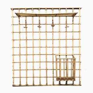Mid-Century French Rattan Coat Rack, 1950s