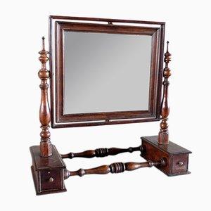 Antiker Spiegel mit Rahmen aus Nussholz