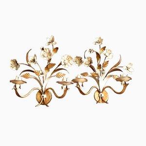 Lámparas de pared Mid-Century esmaltadas en dorado y crema. Juego de 2