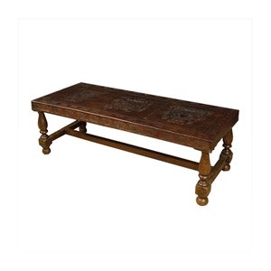 Vintage Spanish Wood & Leather Bench