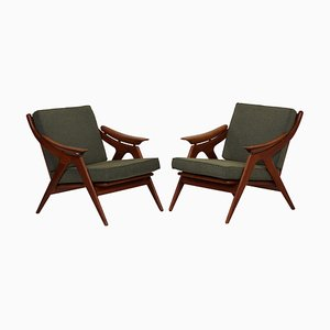 Green Upholstery & Teak Armchairs from Topform, 1960s, Set of 2