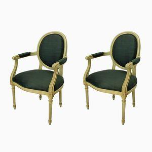 Französische Armlehnstühle mit vergoldetem & gestrichenem Gestell, 1950er, 2er Set