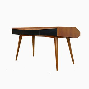 German Walnut Desk with Bookcase, 1950s