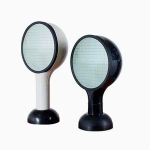 Lámparas de mesa Drive vintage en blanco y negro de Adalberto Dal Lago para Bieffeplast. Juego de 2